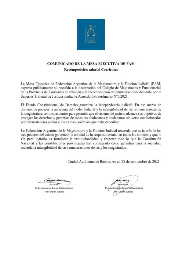 Comunicado de FAM sobre el pedido de recomposición salarial de Corrientes